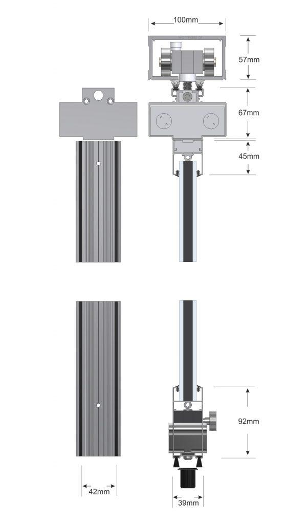 Τομή Πτυσσόμενης Πόρτας εφαρμογής πτυσσόμενων με πλαίσια